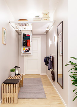 Modular ceiling storage system for tidy living