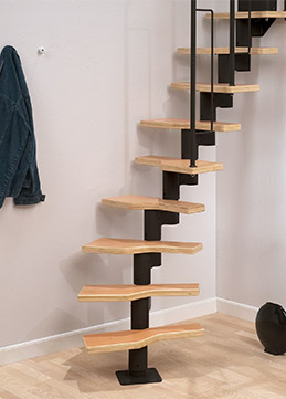 modular staircase graz in black for indoor use