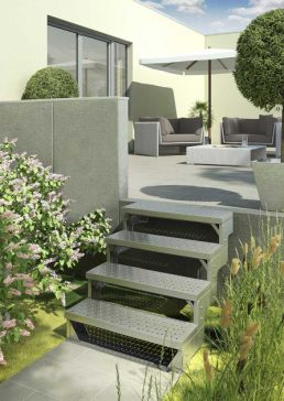 Outdoor Staircase GARDENTOP Metal perforated treads