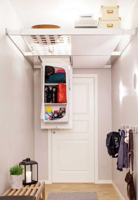 Ceiling storage organiser, net, shelf and one shoe storage