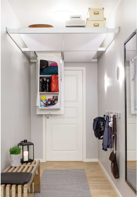 2 ceiling storage organisers and 2 storage shelves for smart storage