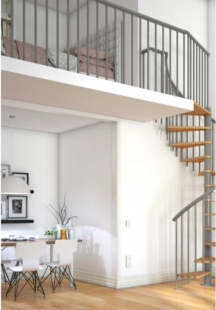 landing banister in grey for DOLLE classic spiral staircase